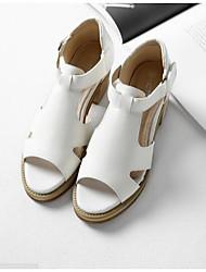 Damen-High Heels-Lässig-PU-Blockabsatz-Fersenriemen Komfort-Weiß Mandelfarben