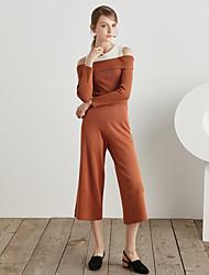 Feminino Simples Cintura Alta Com Elástico Chinos Calças,Reto Cor Única