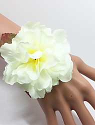 Wedding Flowers Hand-tied Roses Wrist Corsages Bracelet Elastic Satin 0.98(Approx.2.5cm)