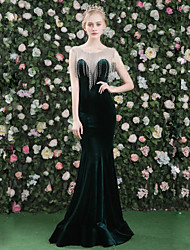 Mermaid / Trumpet Jewel Neck Floor Length Satin Tulle Velvet Formal Evening Dress with Crystal Detailing Tassel(s) by QZ