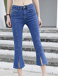 Women's High Rise Inelastic Jeans Pants,Simple Wide Leg Solid