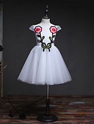 BONJEAN A-line Knee-length Flower Girl Dress - Organza Jewel with Appliques Embroidery