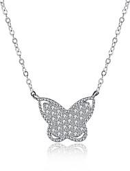 Femme Pendentif de collier Colliers chaînes Zircon cubique Forme de Noeud Argent sterling ZirconBasique Original Pendant Géométrique