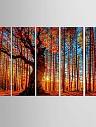 Giclee Print Landscape Classic Pastoral,Five Panels Canvas Vertical Print Wall Decor For Home Decoration