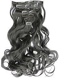 7pcs/Set 130g Dark Black Wavy 50cm Hair Extension Clip In Synthetic Hair Extensions