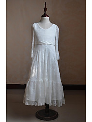 A-line Ankle-length Flower Girl Dress - Cotton Lace Taffeta Long Sleeve V-neck with Lace Pleats