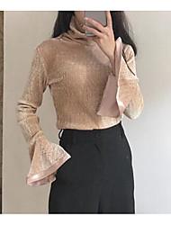 Damen Solide Einfach Ausgehen T-shirt,Asymmetrisch Langarm Polyester