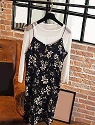 Damen Blumen Druck Sexy Einfach Lässig/Alltäglich Urlaub Bluse Kleid Anzüge,Gurt Ärmellos