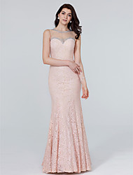 Mermaid / Trumpet Jewel Neck Floor Length Lace Formal Evening Dress with Crystal Detailing by TS Couture®