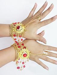 Dança do Ventre Jóias Mulheres Actuação Metal Detalhes de Cristal 2 Peças Braceletes