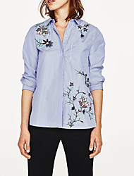 Feminino Camisa Social Para Noite Casual Sensual Simples Moda de Rua Verão,Listrado Bordado Seda Algodão Colarinho de Camisa Manga Longa