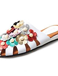 Women's Loafers & Slip-Ons Gladiator PU Spring Summer Casual Dress Gladiator Imitation Pearl Flower Flat Heel White Black Flat