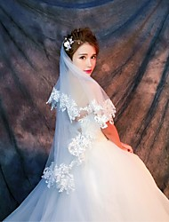 Wedding Veil One-tier Elbow Veils Fingertip Veils Lace Applique Edge Tulle Lace White Ivory