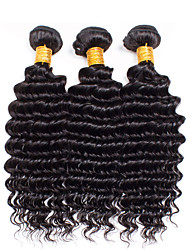 3pcs/Lot 8-26Raw Brazilian Virgin Hair Natural Black Deep Curly Human Hair Weaves Low Price Sale.
