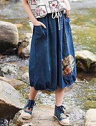 Для женщин Midi Подол,С высокой талией Блесна Однотонный