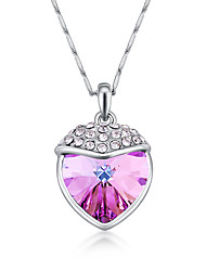 Women's Pendant Necklaces Crystal Geometric Chrome Love Heart Euramerican Fashion Personalized Light Blue Red Rose Red Purple Dark Blue