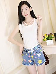 Femme simple Taille Haute Micro-élastique Jeans Short Pantalon,Droite Imprimé