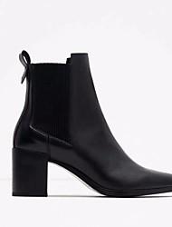 Feminino-Botas-Chanel-Salto Grosso Salto de bloco--Couro Ecológico-Casual