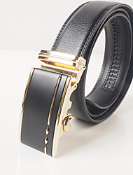 Men's casual fashion black leather button gold matte surface automatic belt