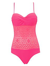 Womens Sexy Push Up Lace High Rise Fashion One-piece  Solid Swimsuit (S-2XL)