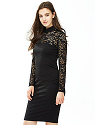 Women's Lace Formal / Party Sexy Bodycon Dress,Solid V Neck Mini Long Sleeve Red / Black Cotton / Spandex Spring / Fall Mid Rise