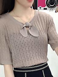 Damen Solide Sexy Übergröße T-shirt,Rundhalsausschnitt Kurzarm Seide