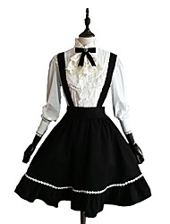 Skirt Blouse/Shirt Classic/Traditional Lolita Cosplay Lolita Dress Solid Long Sleeve Knee-length Blouse Skirt For Cotton