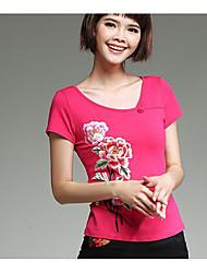 Damen Stickerei Chinoiserie Urlaub T-shirt,Rundhalsausschnitt Kurzarm Baumwolle