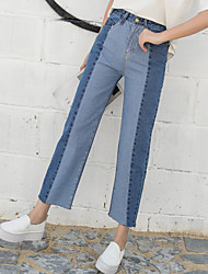 Sign new retro spell color high waist straight jeans loose jeans female curling pantyhose