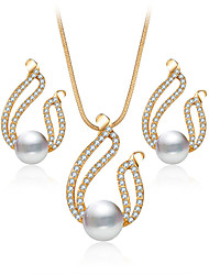 Fashion Crystal Style Hollow Out Jewelry Set For Women Necklace Set  Rhinestone Pearl Earrings Wedding Bridal Accessories Jewelry Gift