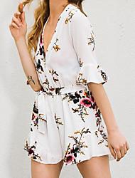 Dames Eenvoudig T-shirt,Casual/Dagelijks Bloemen Diepe V-hals Halflange mouw Spandex