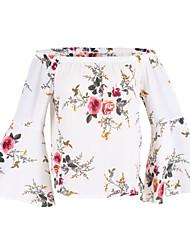 Feminino Blusa Para Noite Casual Simples Moda de Rua Primavera Verão,Floral Algodão Poliéster Decote Canoa Manga Longa Fina