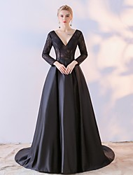 Ball Gown Mother of the Bride Dress N/A Long Sleeve Lace Satin Chiffon with Lace