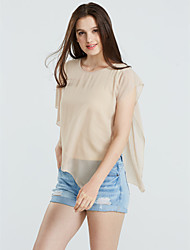 Women's Ruffle/Asymmetrical Sexy Casual Cute Plus Sizes Inelastic Short Sleeve Regular Blouse (Chiffon)