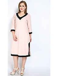 Really Love Women's Plus Size Casual/Daily Party Sexy Simple Cute Loose Shift T Shirt Dress,Color Block V Neck Midi ¾ Sleeve Cotton PolyesterAll