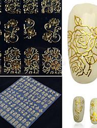108 шт стикер ногтей металл ретро полый тотем золото серебряный стикер ногтя