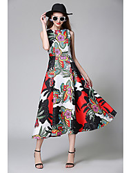 Women's Casual/Daily A Line Swing Dress,Floral Print Color Block Round Neck Midi Sleeveless Polyester Spring Summer High Rise