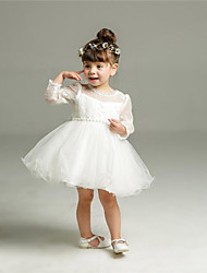 Ball Gown Short / Mini Flower Girl Dress - Organza Long Sleeve Jewel with Bow(s) Sash / Ribbon Ruching