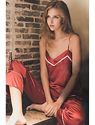 Jarretière Jarretelles & Bretelles Satin & Soie Costumes Vêtement de nuit Femme,Sexy Dentelle Rayé Satin Soie Soie Glacée