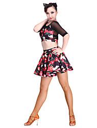Dança Latina Blusas Mulheres Actuação Náilon Chinês Elastano Tule Fibra de Leite 1 Peça Luva de comprimento de 3/4 Blusa