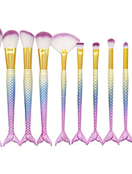 10 Makeup Brush Set Blush Brush Lip Brush Concealer Brush Foundation Brush Contour Brush Synthetic Hair Professional Horse Hair Plastic