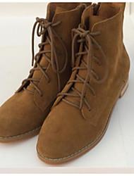 Women's Boots Comfort PU Spring Casual Brown Khaki Flat