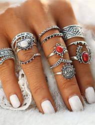Damen Ring Mittelfingerring Einzigartiges Design Geometrisch Kreis Blumen Modisch Vintage Böhmen-Art Punkstil Euramerican Simple Style