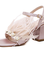 Women's Sandals Summer Comfort PU Dress Chunky Heel Feather Pink Navy Blue