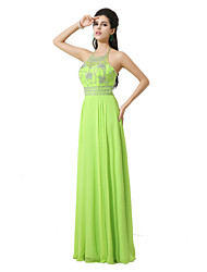 Formal Evening Dress - Open Back Sheath / Column Halter Floor-length Chiffon with Crystal Detailing Sequins