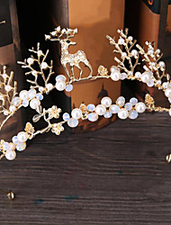 Diamantes Sintéticos Aleación Perla Artificial Celada-Boda Ocasión especial Al Aire Libre Tiaras Bandas de cabeza Pasador de Pelo 1 Pieza