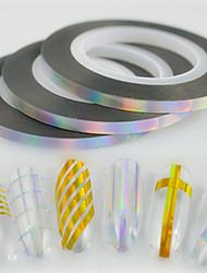 30pcs / box 3mm 20m à la mode laser à l'argent étincelante en arc-en-ciel feuille à bandes ruban adhésif à ongles art à l'émail glitter