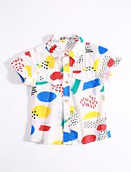 Casual/Daily Print Shirt,Cotton Summer Short Sleeve