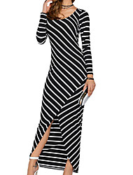 Women's Casual/Daily Simple Sheath Dress,Striped Round Neck Maxi Long Sleeve Polyester Summer Mid Rise Inelastic Medium