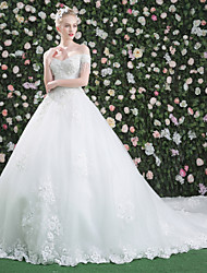 Ball Gown Off-the-shoulder Cathedral Train Lace Tulle Wedding Dress with Sequin Crystal Detailing by QZ